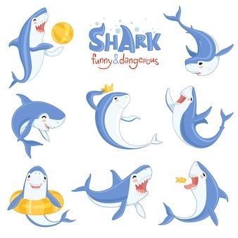 漫画のサメの水泳。さまざまなポーズで哺乳類のキャラクターの笑顔と怒っているイラストの海の大きな歯の青い魚。