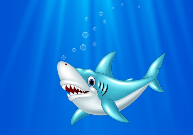 Cartoon shark swimming in the ocean