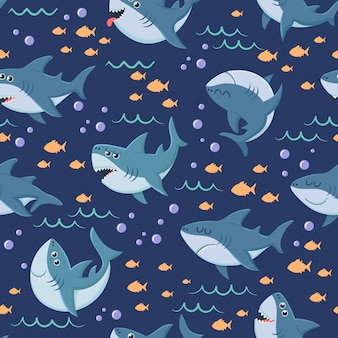 Cartoon sharks pattern. seamless ocean swim, marine shark and sea underwater  background