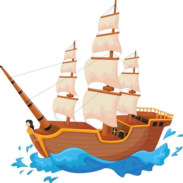 Мультяшный корабль изолирован