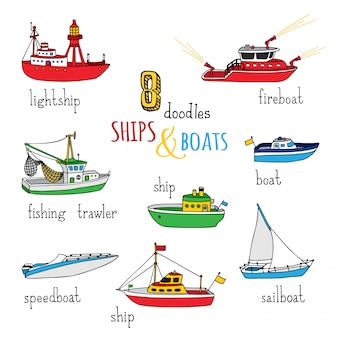Мультфильм корабли и лодки установлены. нарисованные от руки морские суда. световой, пожарный катер, рыболовный траулер, катер, парусник и моторная лодка.