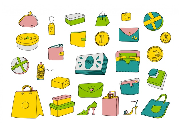 Cartoon shopping set in doodle style