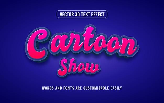 Мультяшное шоу в стиле 3d редактируемого текстового эффекта