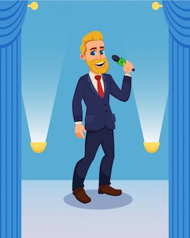 Cartoon showman character with microphone on stage