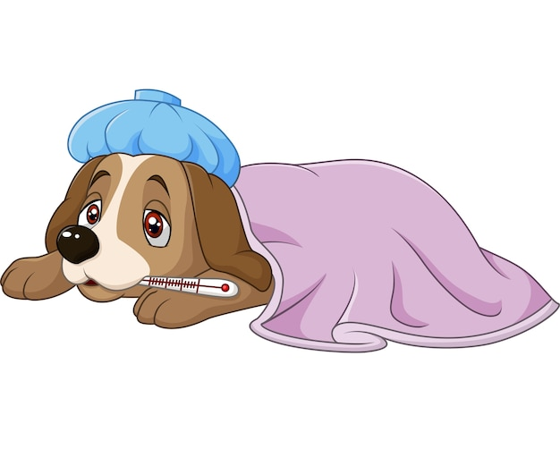 Cartoon sick dog with ice bag and thermometer