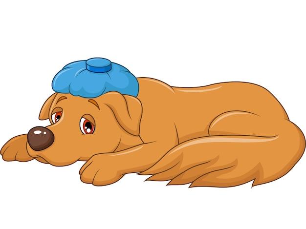 漫画の病気の犬