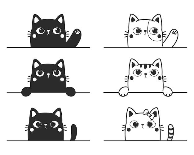 벽을 흔들며 검은 고양이의 만화 실루엣을 흔들며 귀여운 새끼 고양이 라인 드로잉.