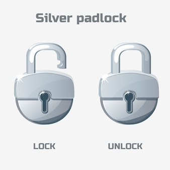 Cartoon silver padlock. lock and unlock.