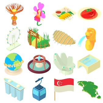 Cartoon singapore icons set
