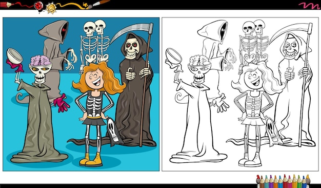 Cartoon skeleton and grim reaper fantasy characters coloring book page