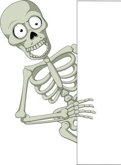 Мультяшный скелет с пустым знаком