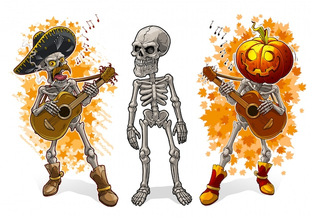Cartoon skeletons with pumpkin sombrero and guitar