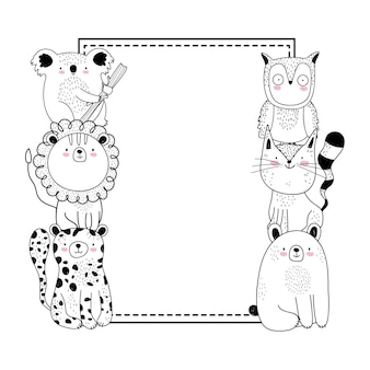 Cartoon sketch animals and banner