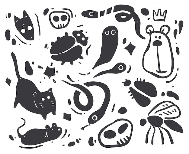 Cartoon sketch animals illustration