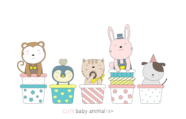 Cartoon sketch the cute baby animal on the cupcake. hand-drawn style.