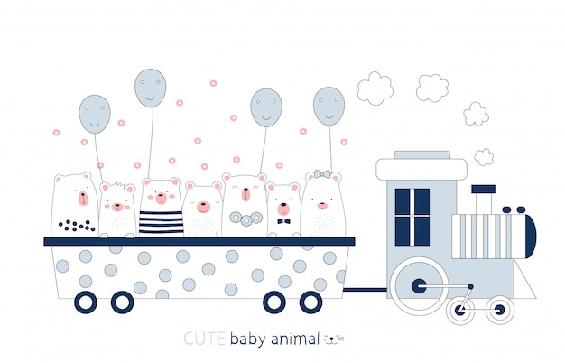 Cartoon sketch the cute bear baby animal on the train. hand-drawn style.