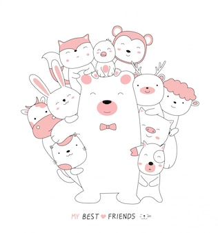 Cartoon sketch the cute bear baby animals with friends. hand drawn style.