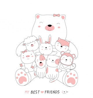 Cartoon sketch the cute bear baby animals with friends.