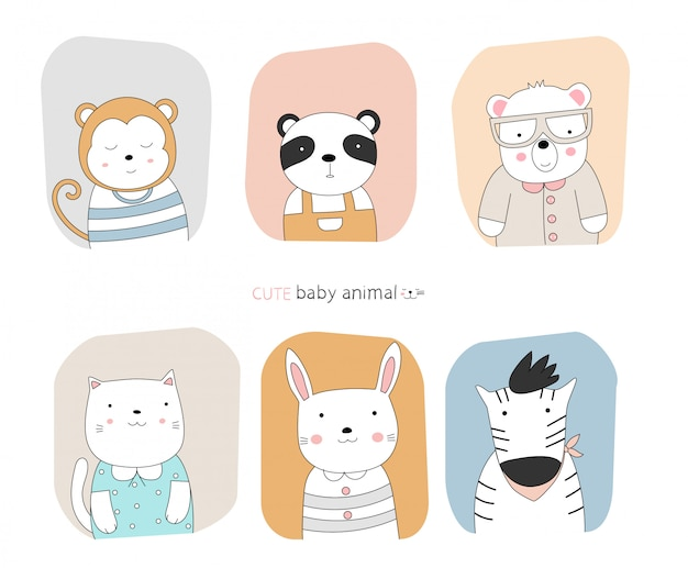 Cartoon sketch the cute posture baby animal with frame color background.  hand-drawn style.
