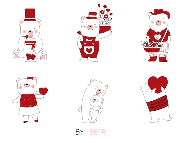 Cartoon sketch the cute posture bear baby animals.