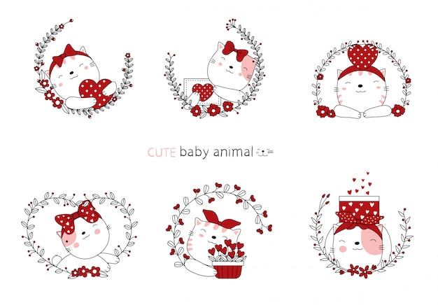 Cartoon sketch the lovely cat baby animals with flower.
