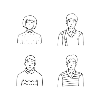 Cartoon Sketch People Vector Illustration
