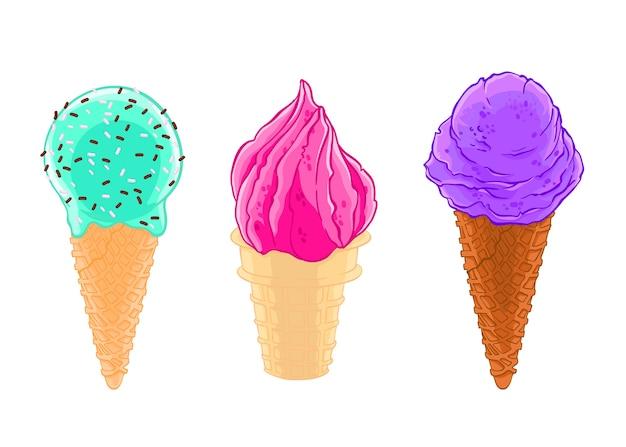 Мультфильм эскиз набор из трех конусов мороженого с глазурью, песок и вафли.