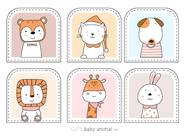 만화 스케치 귀여운 동물 손으로 그린 스타일