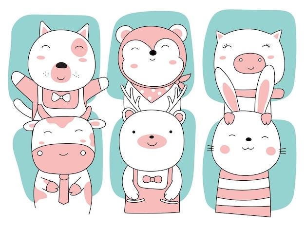漫画はかわいい動物をスケッチします手描きスタイル