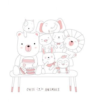 의자에 귀여운 아기 동물을 스케치하십시오. 손으로 그린 스타일.