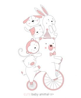 Мультяшный эскиз милый ребенок животных на старинных велосипедов. рисованный стиль