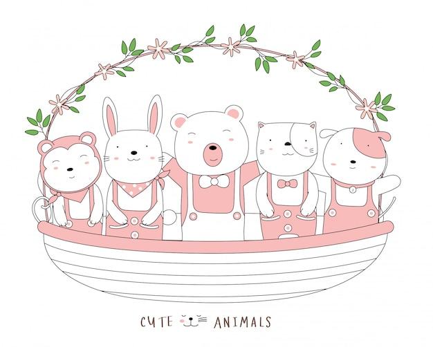 꽃 바구니와 함께 귀여운 아기 동물을 스케치하는 만화. 손으로 그린 스타일.