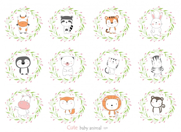 꽃 테두리가있는 귀여운 아기 동물을 스케치하십시오. 손으로 그린 스타일.