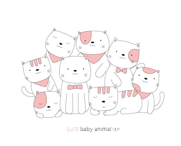 Мультяшный эскиз милый кот детское животное. рисованный стиль