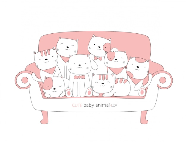 漫画はピンクの椅子にかわいい猫の赤ちゃん動物をスケッチします。手描きスタイル。