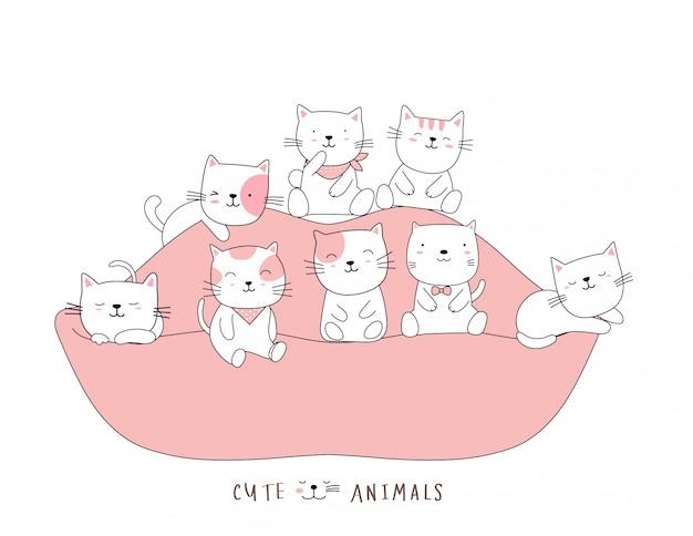 Мультяшный эскиз милый кот ребенка животных на диване. рисованный стиль
