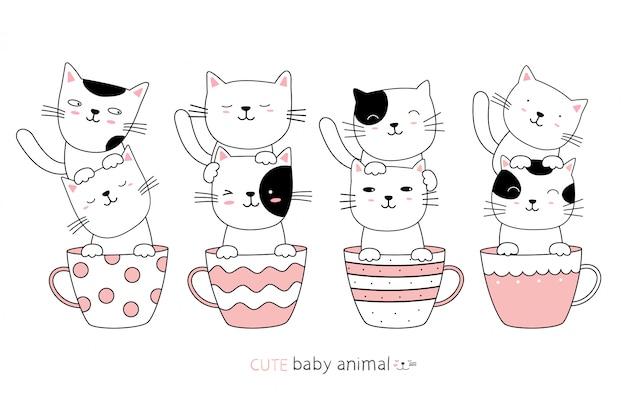 漫画は、カップでかわいい猫の赤ちゃん動物をスケッチします。手描きスタイル。
