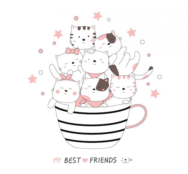 Мультяшный эскиз милый кот ребенка животных с чашкой.