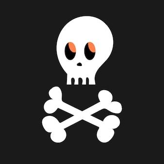 검은 배경에 만화 두개골과 뼈입니다. 간단한 흰색 벡터 할로윈 아이콘