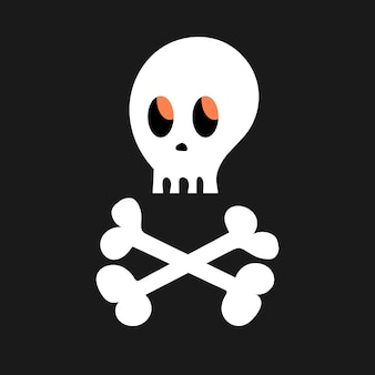 Cartoon skull and bones on a black background. simple white vector halloween icon