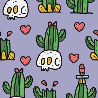 Cartoon skull and cactus doodle pattern design illustration