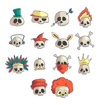Cartoon skull icon set.