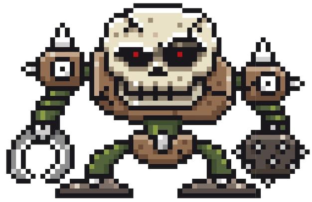 Cartoon skull monster pixel design