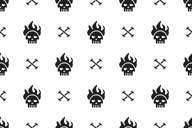 Cartoon skulls seamless pattern background