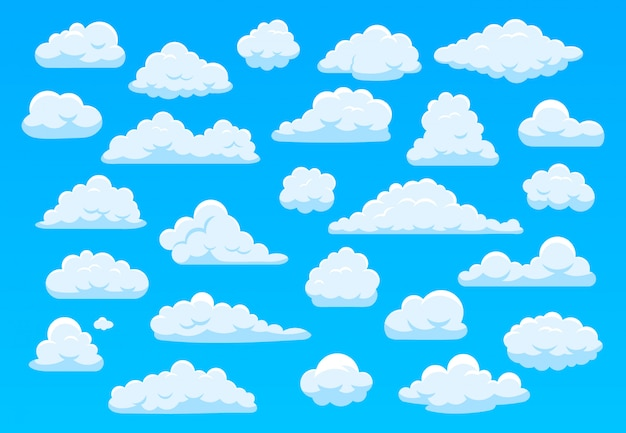 Cartoon sky clouds. fluffy white clouds in blue sky, bright cloudscape weather atmospheric panorama. cute clouds of different shape  cartoon illustration set. cloudy heaven, overcast sky