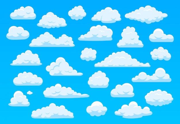 漫画の空の雲。青い空にふわふわの白い雲、明るいcloudscape天気大気のパノラマ。別の形の漫画イラストのかわいい雲を設定します。曇天、曇り空