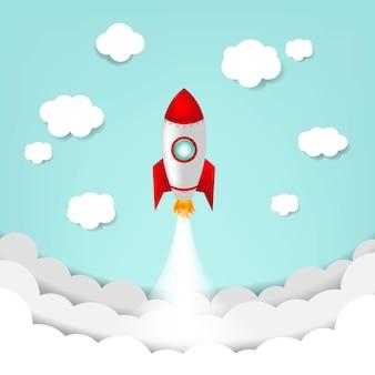 Мультфильм небо с ракетой и облаком с градиентной сеткой