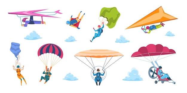Cartoon skydivers illustration