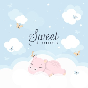 Cartoon sleeping hippopotamus. cute hand drawn. Free Vector