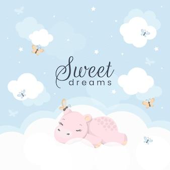 Мультфильм спящий бегемот. симпатичные рисованной.